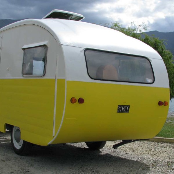 Yellow and White Starliner Caravan Restoration